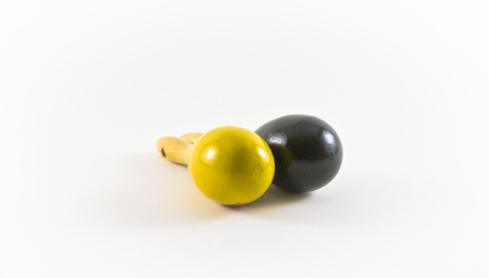conjuror: two colorful juggler pins