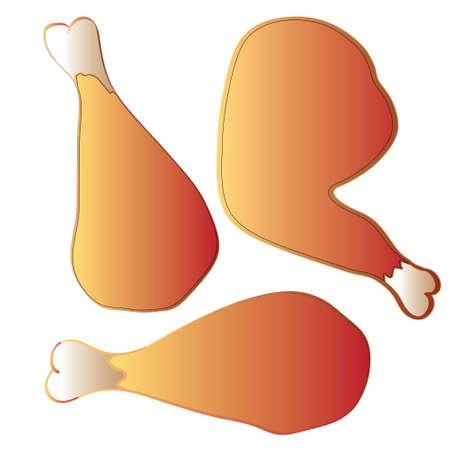 fritto: illustrazione vettoriale fritto cosce di pollo seamless pattern