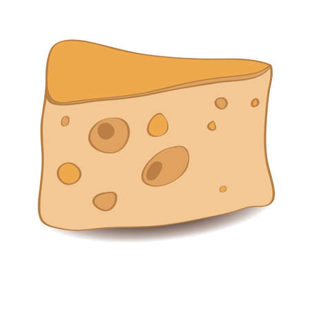 holes: Vector piece of tasty yellow cheese with holes Illustration