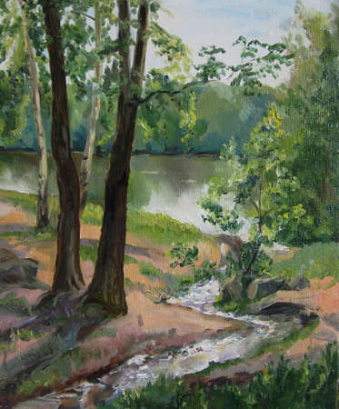 creek: landscape oil painting with a creek art background Stock Photo
