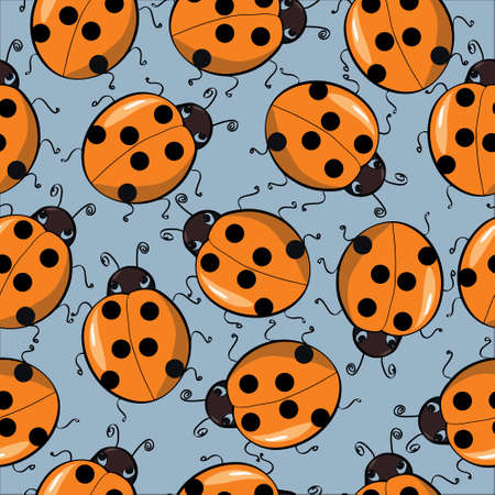 seamless colorful background with funny running ladybirds Illustration
