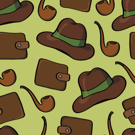 purses: Seamless background with men smoking pipes, hats and purses