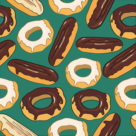 eclair: seamless background with sweet eclairs and donuts Illustration