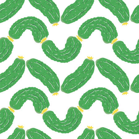 cucumbers: Seamless pattern with green cucumbers. Vector eco food illustration.