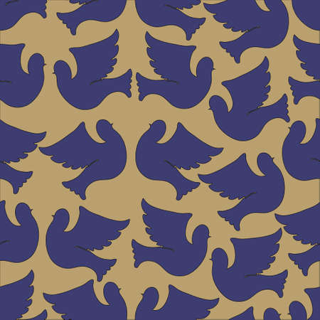 pigeons: Doves and pigeons seamless pattern for peace concept and wedding design. Vector Illustration