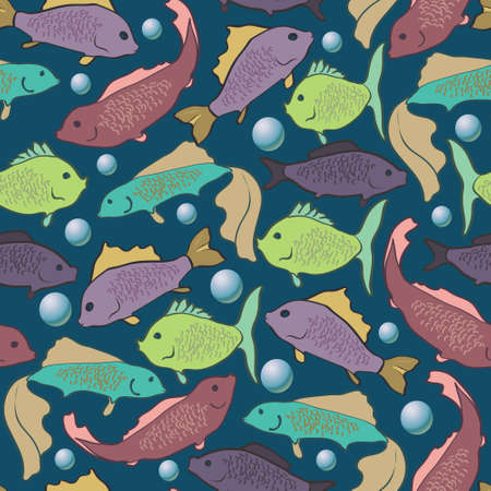 colorful fish: seamless background of colorful fish and air bubbles