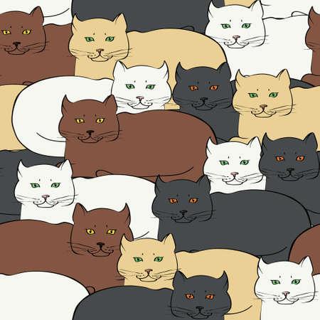 Naadloze achtergrond met de Britse katten. Vector illustratie. Stock Illustratie