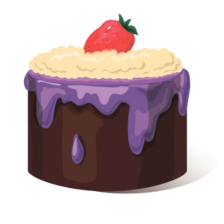 creme: Festive tasty cupcake with creme, vector illustration