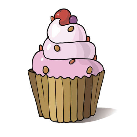 tasty: Festive tasty cupcake with creme, vector illustration