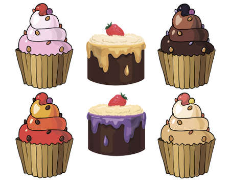 fancy pastry: Set of appetizing cakes with different berries and stuffings