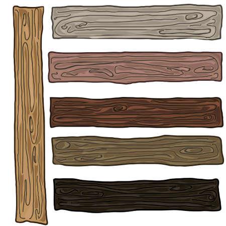 Farbe beschichtet Kiefernholz Bord Brett über dem weißen Hintergrund isoliert, Satz von sieben verschiedenen Farben