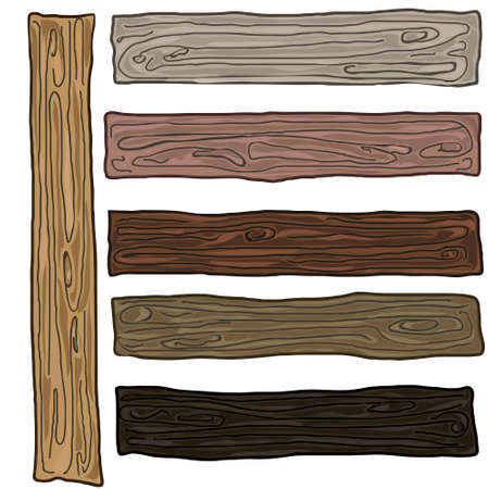 Paint coated pine wood board plank isolated over the white background, set of seven different colors