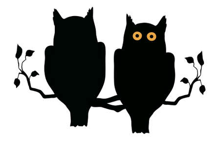 black branch: Silhouette of two owls on branch - vector illustration