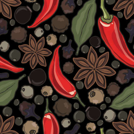 garlic clove: vector seamless pattern with spice, vector illustration
