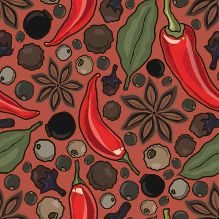 spice: vector seamless pattern with spice, vector illustration