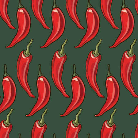 red pepper: Seamless chili red pepper background, vector illustration