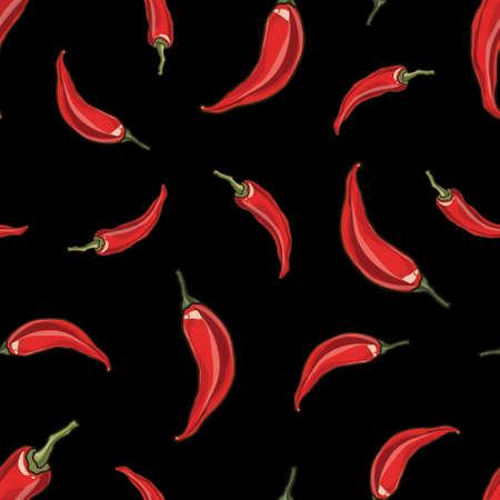 chilli pepper: Seamless chili red pepper background, vector illustration