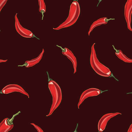 spicy food: Seamless chili red pepper background, vector illustration
