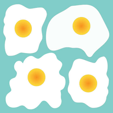 omelet: Vector illustration with fried eggs on blue background Vectores