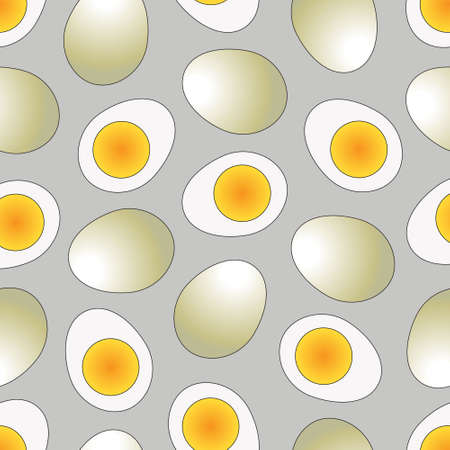 boiled: Set of boiled egg in flat icon style, heart sharp, slice formation, and half-sharp.