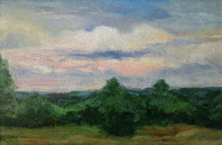 dawn sky: Beautiful dawn sky over the forest, oil painting