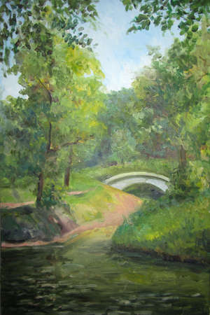 oil park: Bridge in the park in summer, oil painting Stock Photo