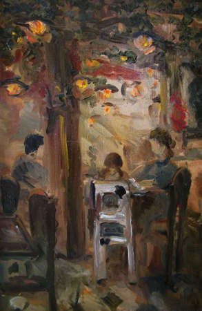 dinner date: People in evening cute cafe, oil painting