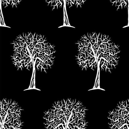 fall winter: seamless pattern with trees silhouettes in black and white colors for fall winter fashion or Christmas wrapping paper