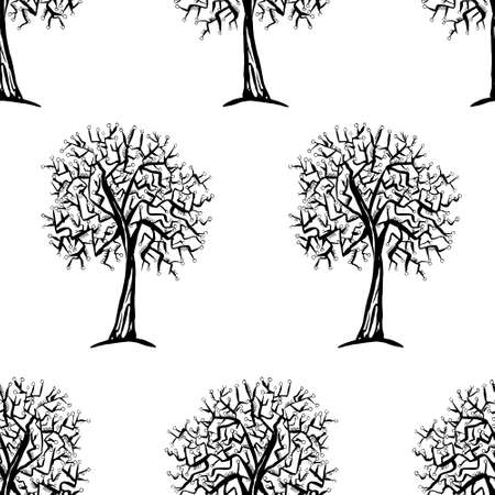 winter fashion: seamless pattern with trees silhouettes in black and white colors for fall winter fashion or Christmas wrapping paper