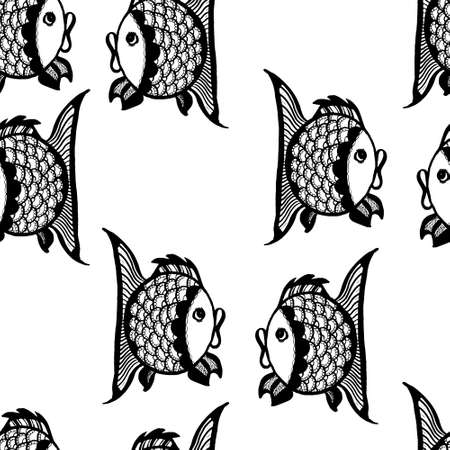 grafische muster: seamless graphic pattern with fish, vector illustration