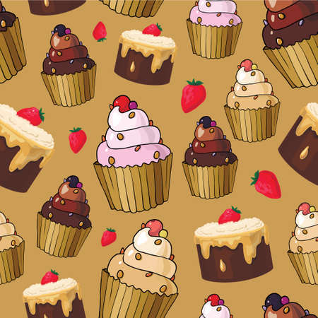 cute wallpaper: Seamless pattern with cherry cupcakes and cherries
