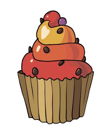 cupcake illustration: illustration of cupcake isolated on white background Illustration
