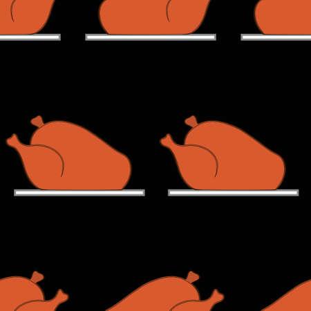 roast turkey: Seamless  pattern with roast turkey. Vector illustration