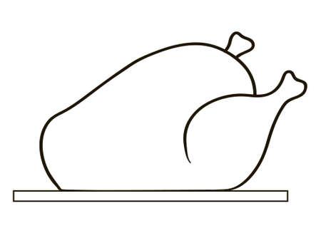 roast turkey: Whole tasty roast turkey, vector illustration icon