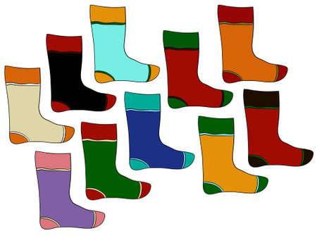 white stockings: Christmas colorful stockings, vector illustration on white background