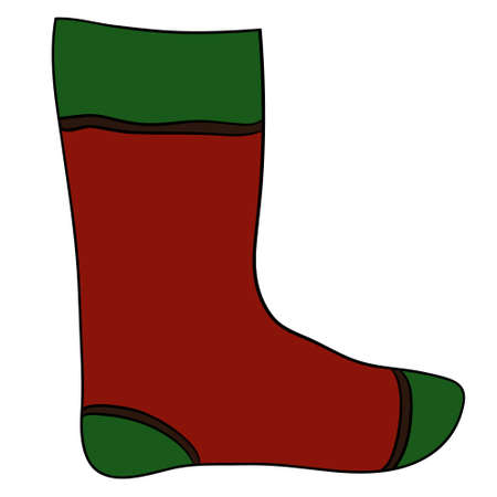 sock: Christmas colorful sock, vector illustration on white background