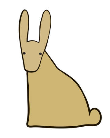 terrestrial mammal: Contour rabbit ink drawing. Front and back view of sitting hare. Vector bunny