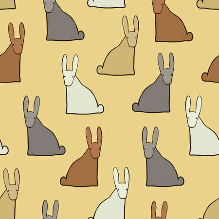 hares: Seamless background with funny colorful hares, vector