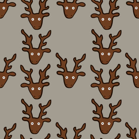 seamless pattern with funny crazy deers, vector illustration