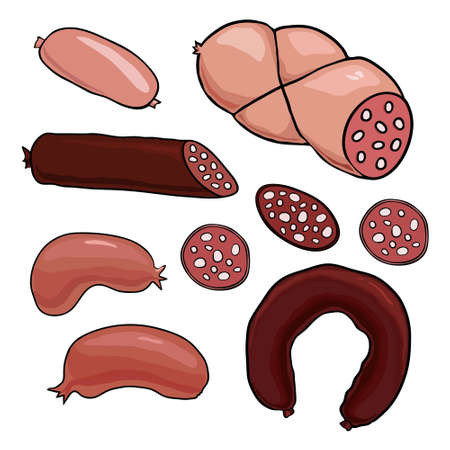 delicatessen: Illustration of a cartoon delicatessen set with sausages