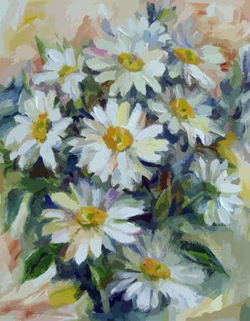 Sonnig Bouquet von weißen Gänseblümchen Ölgemälde
