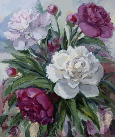 Bouquet von Pfingstrosen Öl auf Leinwand Standard-Bild - 50609102