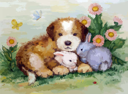 two animals: puppy, rabbits and butterflies painted in oil painting