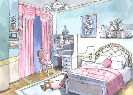 asian lifestyle: beautiful cute bedroom design of watercolor painting Illustration
