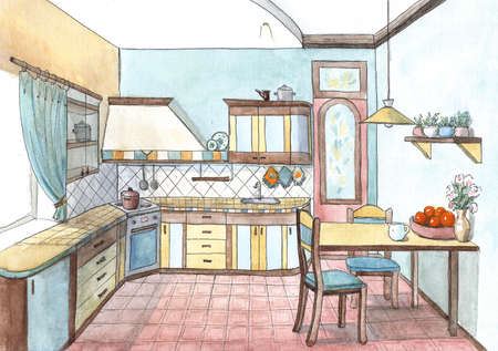 Interior of a cute kitchen in watercolor,