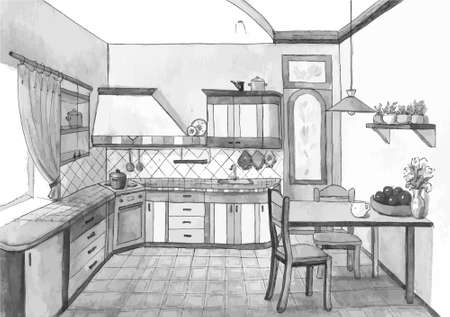 design drawing: Interior of a cute kitchen in watercolor, vector illustration