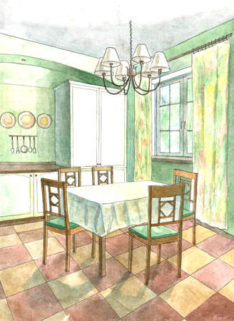 eating area: Classic kitchen interior in flat style in watercolor