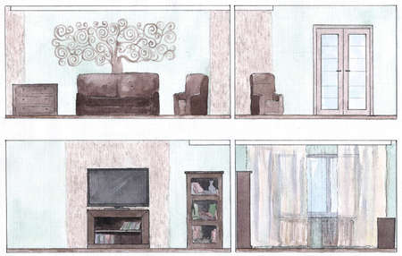 modern living room: Modern living room in watercolor, green and brown colors Stock Photo