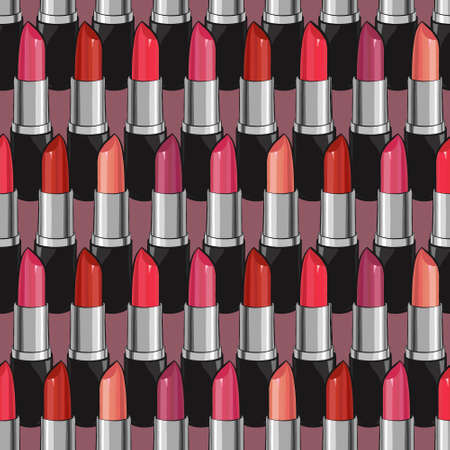 scrap booking: Seamless pattern with beauty lipsticks. original cosmetics background. Useful for invitations, scrap booking, design.