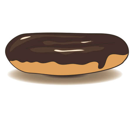 coffee berry: delicious eclair icon with chocolate. vector illustration
